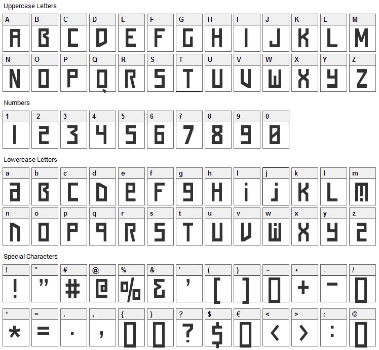 Squaren Daren Font Character Map