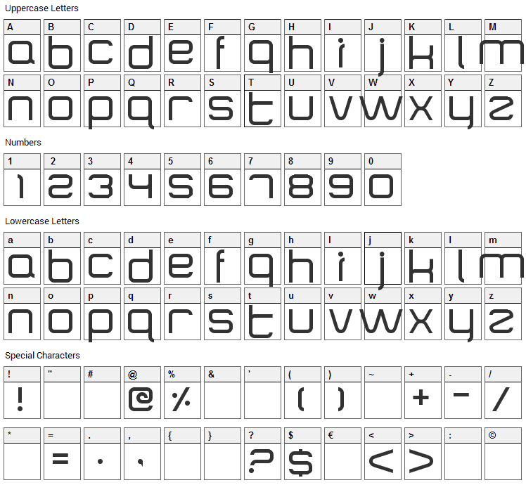 SquareType B Font Character Map