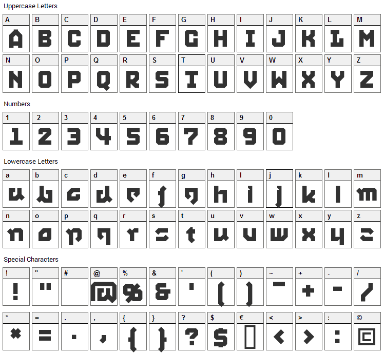Squid Font Character Map