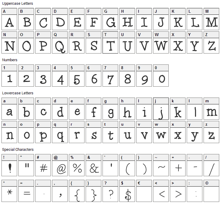 Squishy Font Character Map
