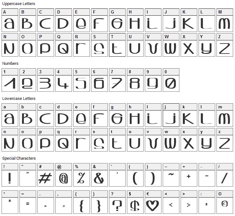Sqwash Font Character Map