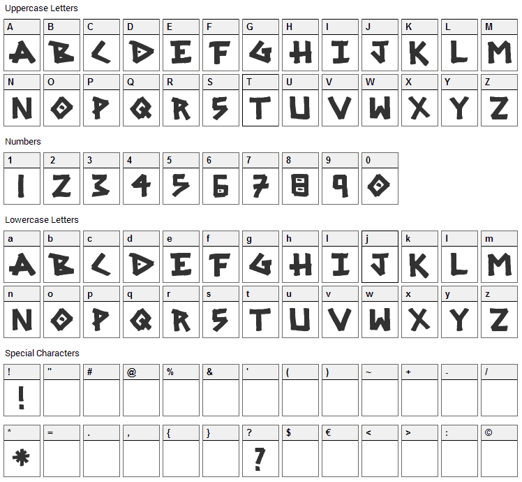 SRG Marker Font Character Map