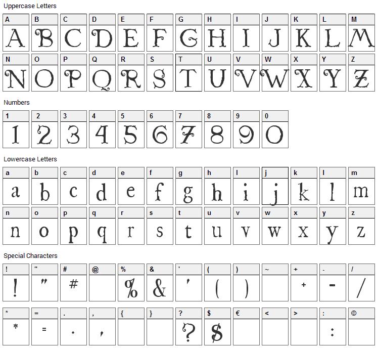 St. Nicholas Font Character Map