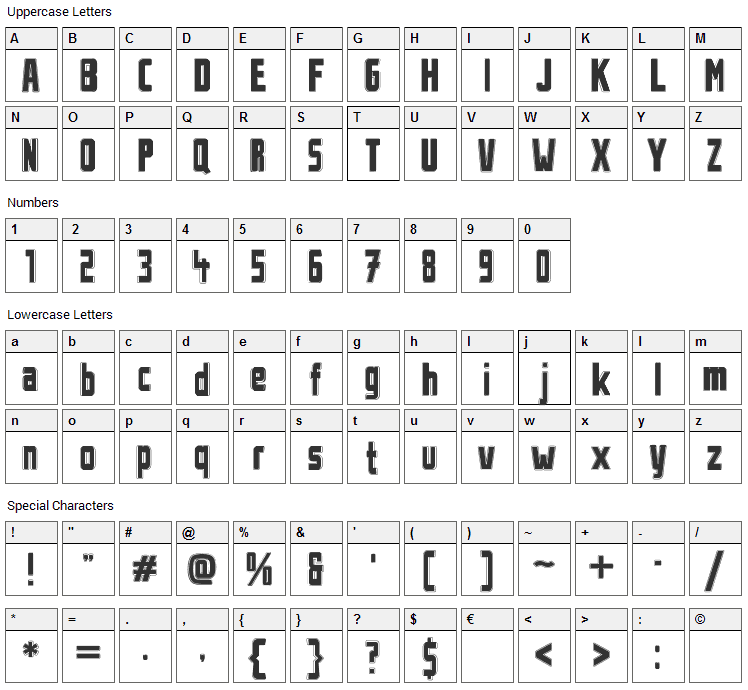 Stahlbetontraeger Font Character Map