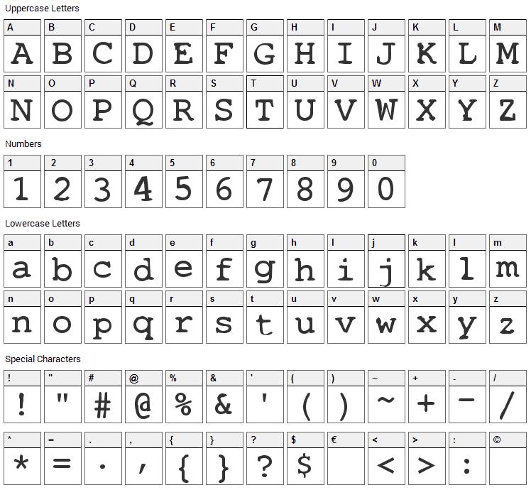 Stalker Font Character Map