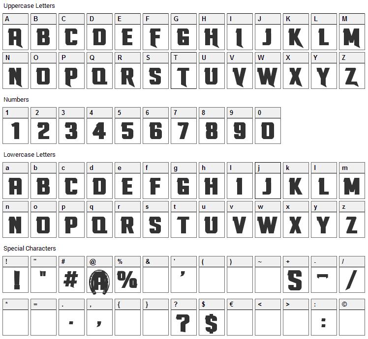 Stallions Font Character Map