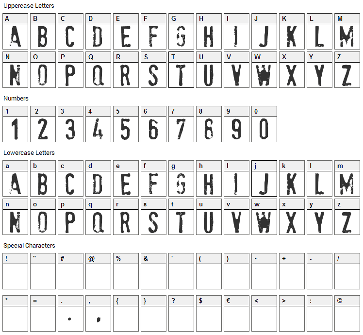 Stam Pete Font Character Map