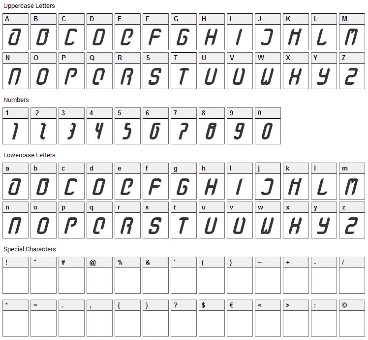 Stanze Fett Font Character Map