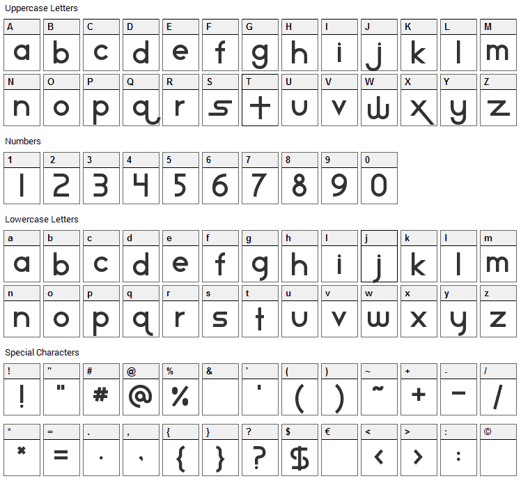 Star Avenue Font Character Map