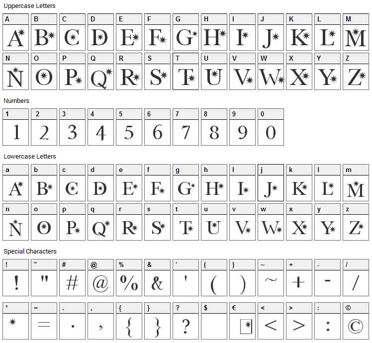 Star Hound Font Character Map