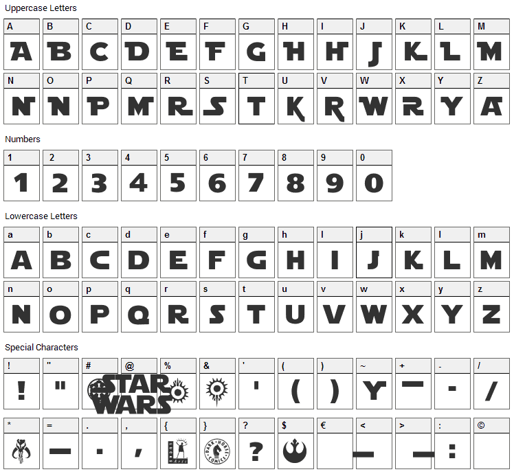 Star Jedi Font Character Map