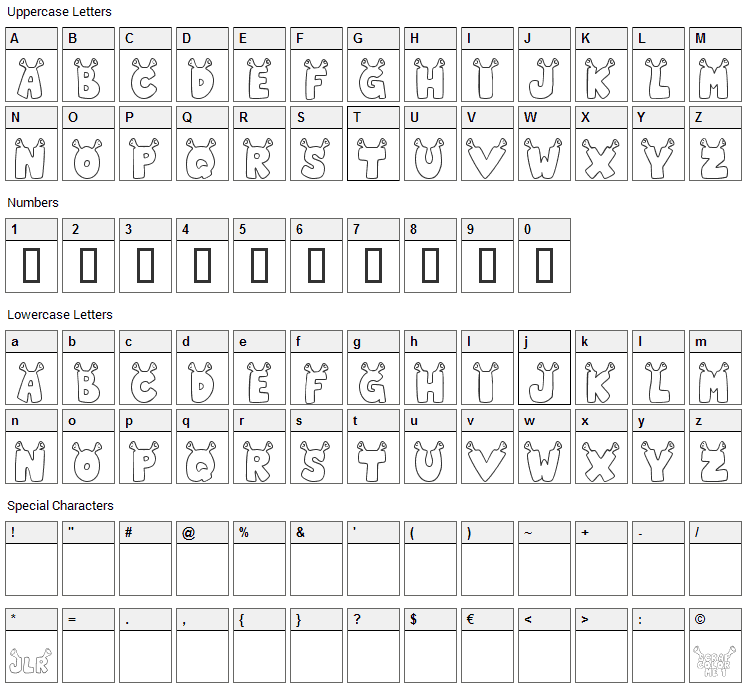 Star Shrek Font Character Map
