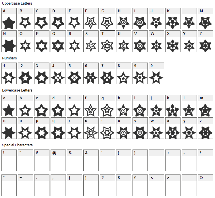 Star Things Font Character Map