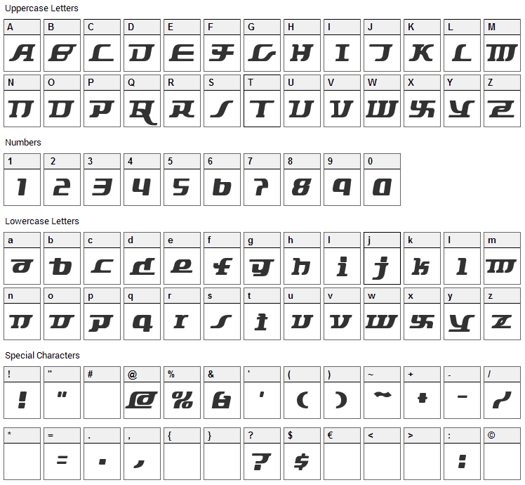 Starbat Font Character Map