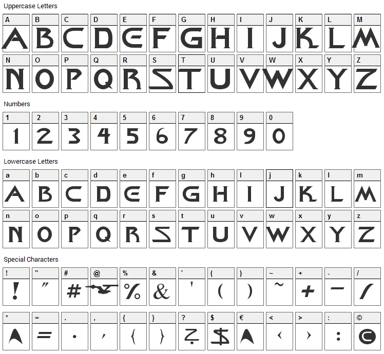 Starcine Font Character Map