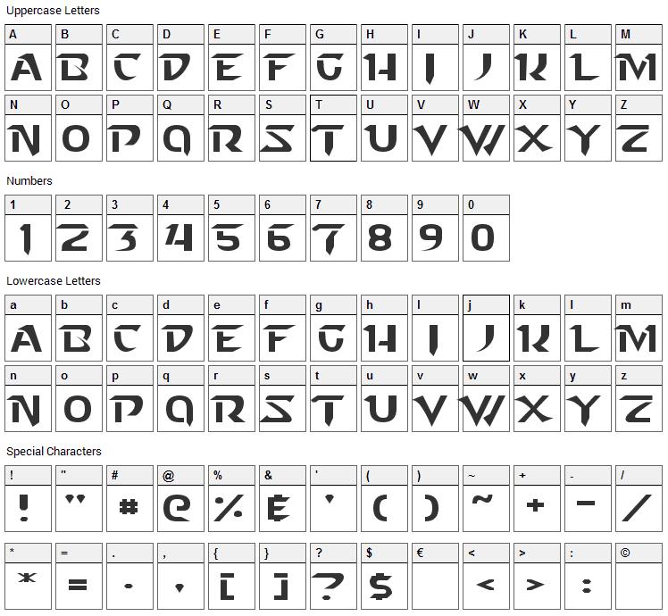 Starcraft Font Character Map
