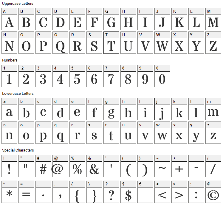 Stardos Stencil Font Character Map