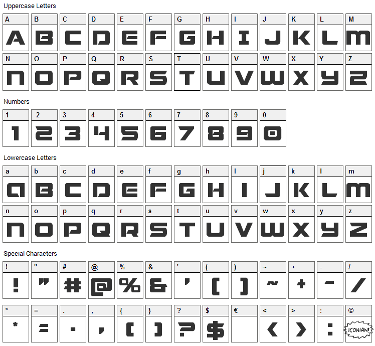 Starduster Font Character Map
