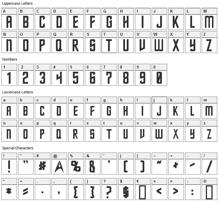 Starfleet Font Character Map