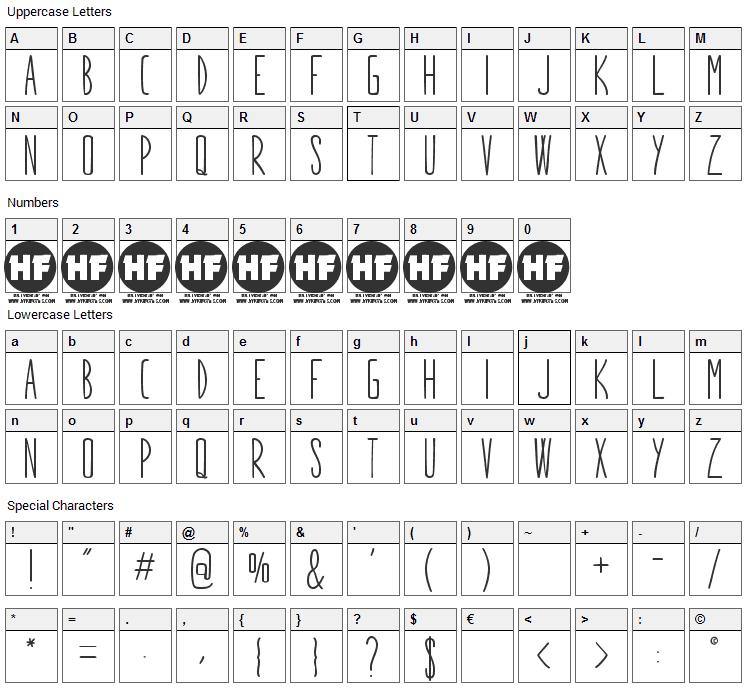 Stargazer Font Character Map