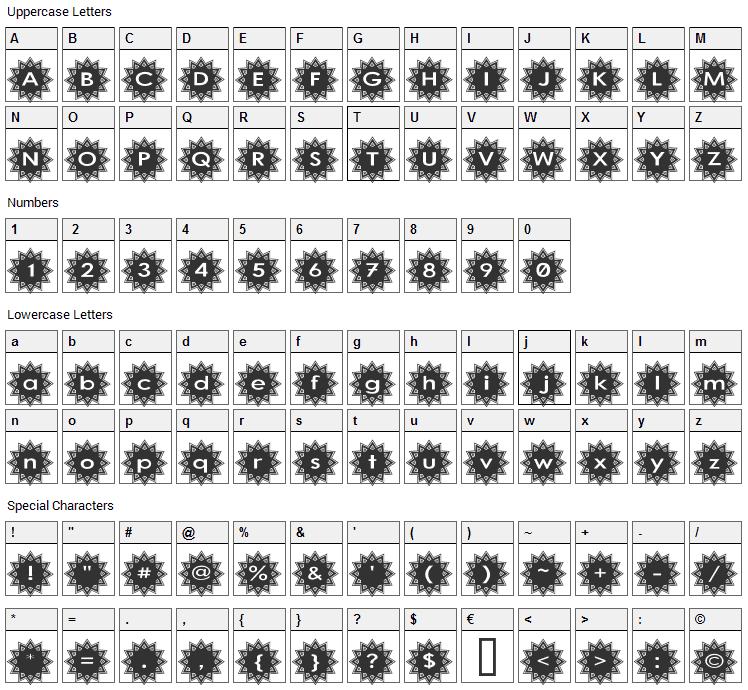 Stargit Font Character Map