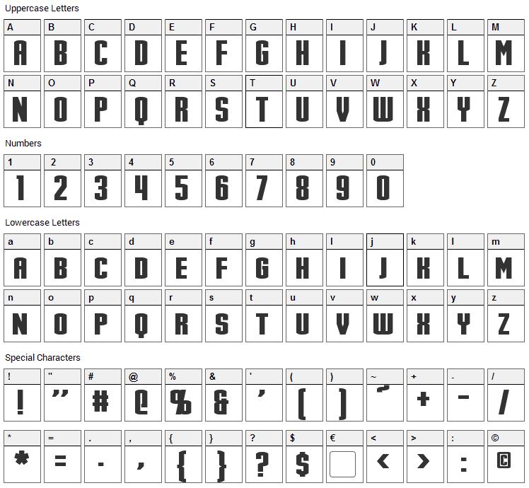 Stark Font Character Map