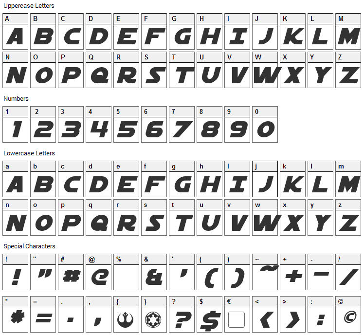 Starkiller Font Character Map