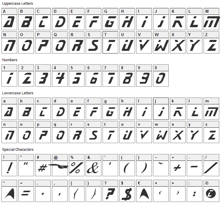 Starnext Font Character Map