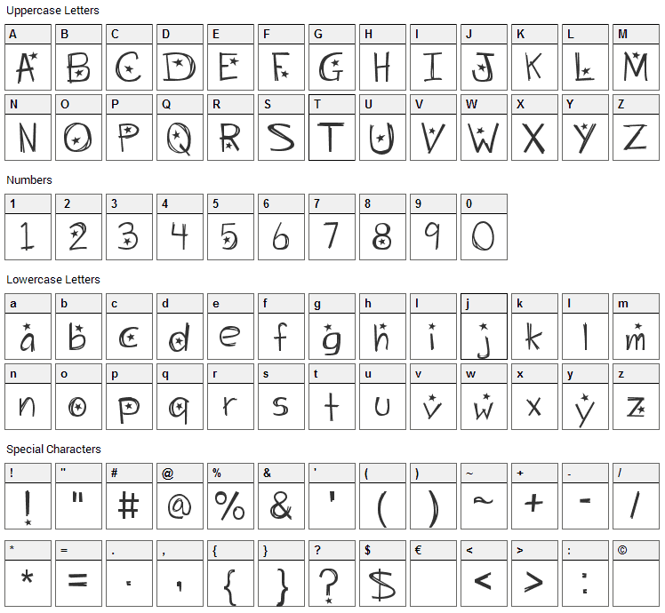 Starry Night Font Character Map