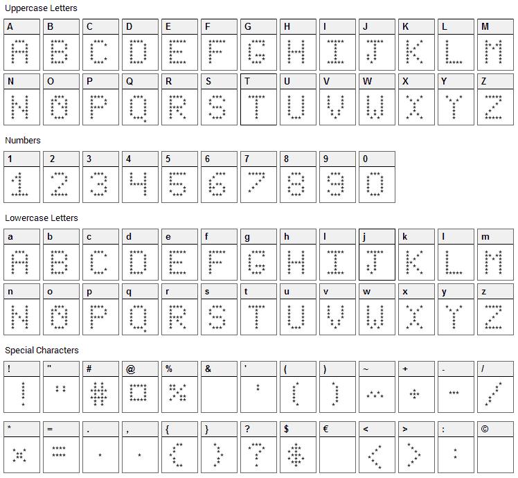 Stars Revenge Font Character Map