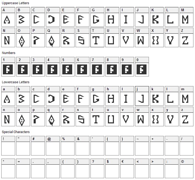 Starscraper Font Character Map