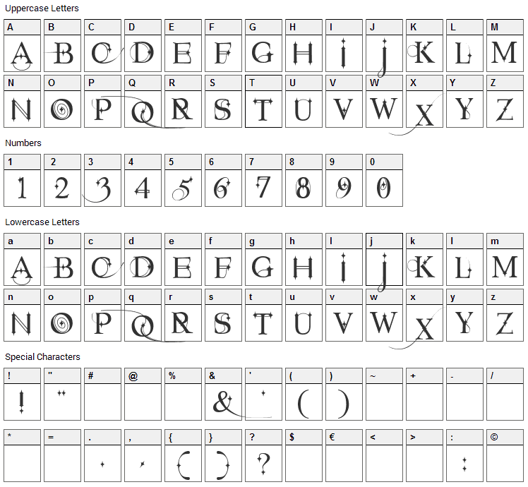 Starstruck Font Character Map