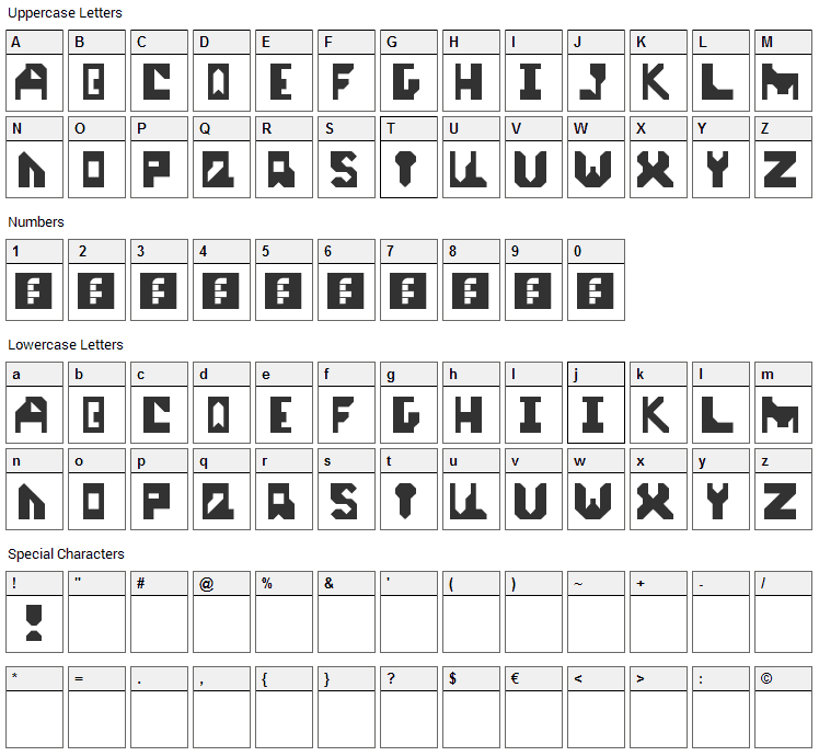 Start Up Font Character Map