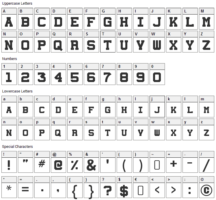 Station 232 Font Character Map