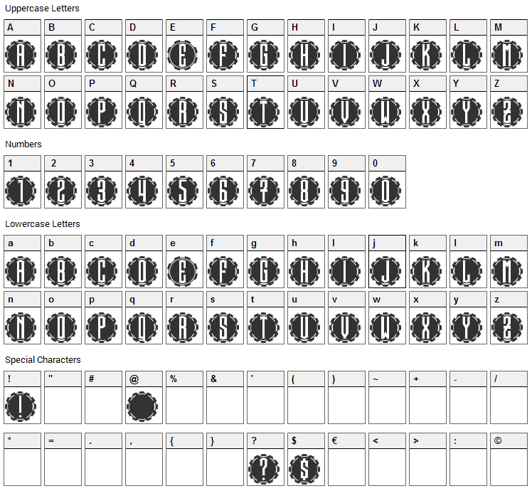 Steamcog Caps Font Character Map