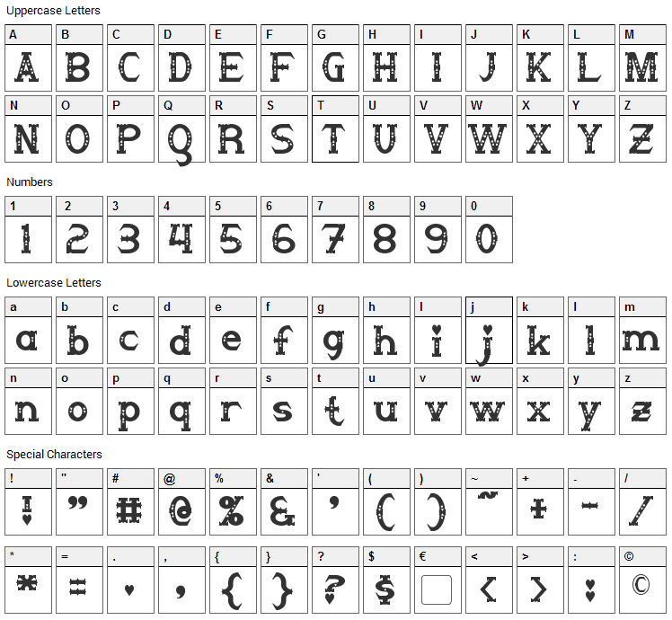 Steampuff Font Character Map