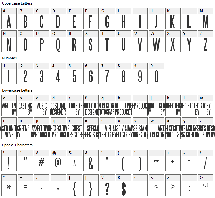 SteelTongs Font Character Map