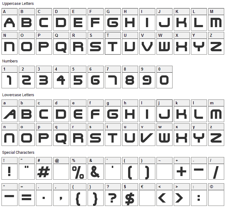 SteelWolf Medium Font Character Map