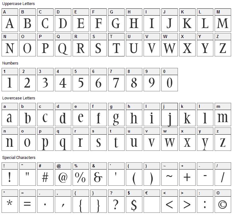 Steepidien Font Character Map