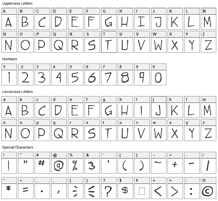 Steet Cred Font Character Map