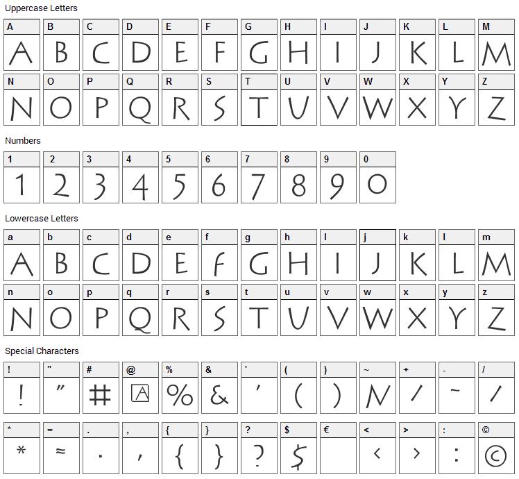 Stein Antik Font Character Map
