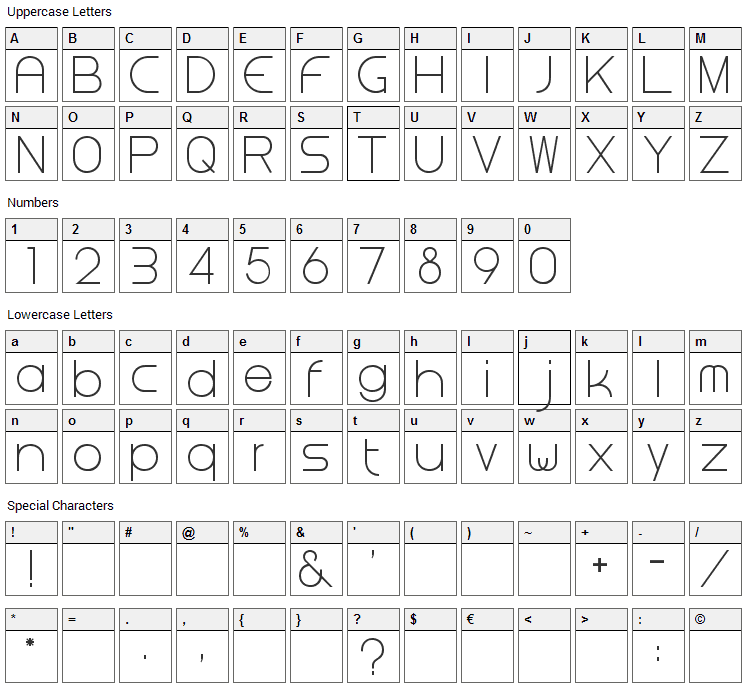 Steiner Font Character Map