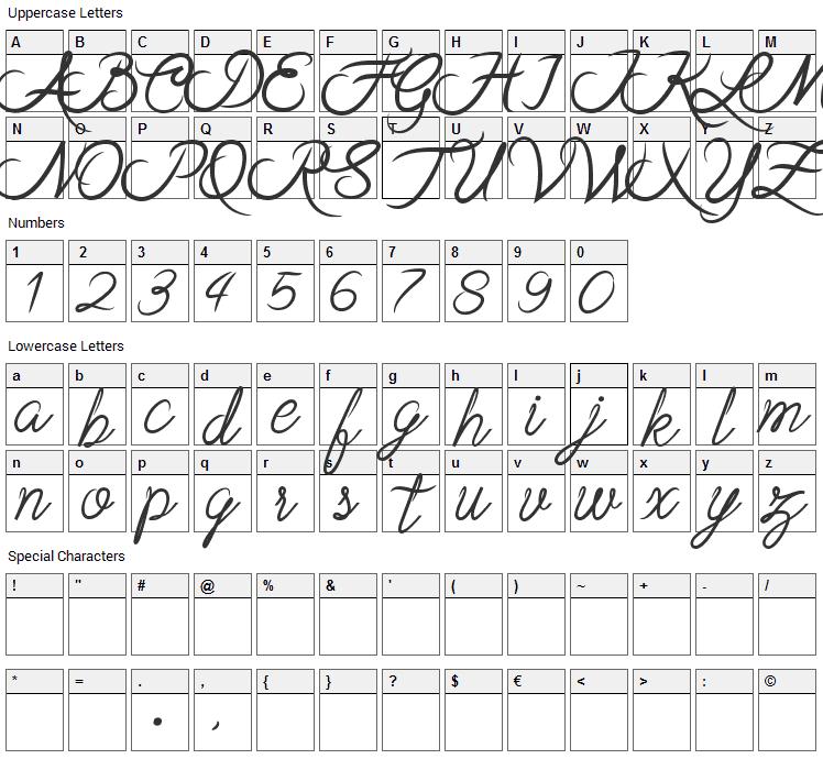 Stela Font Character Map