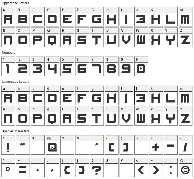 Stellar Kombat Font Character Map