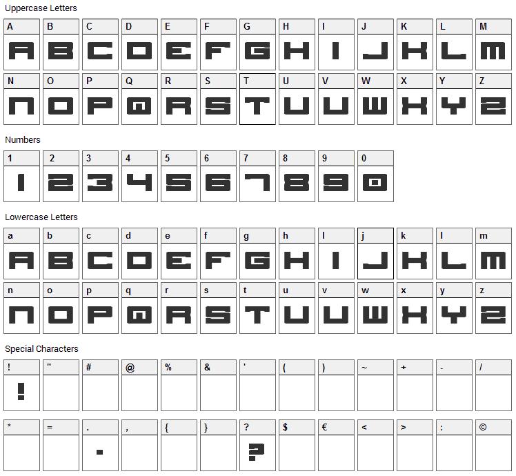 Stellar Kombat ME Font Character Map