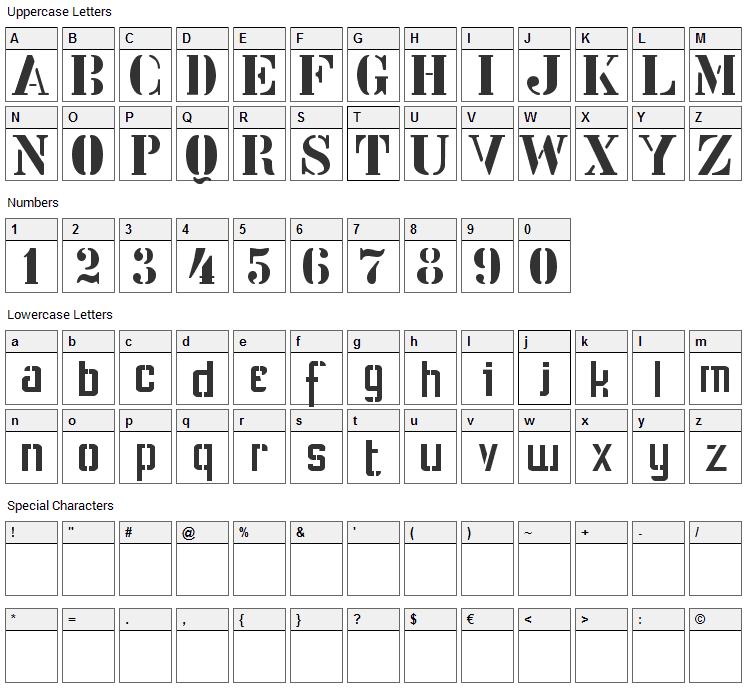 Stencil Intellecta Font Character Map