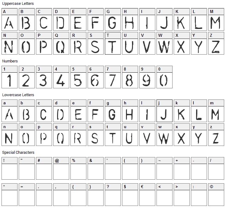 Stencilcase Font Character Map