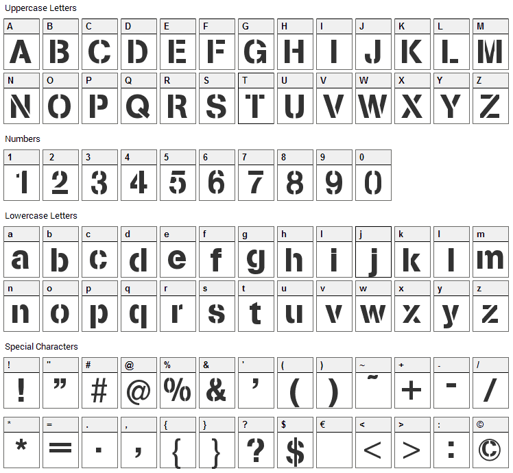 Stencilia Font Character Map