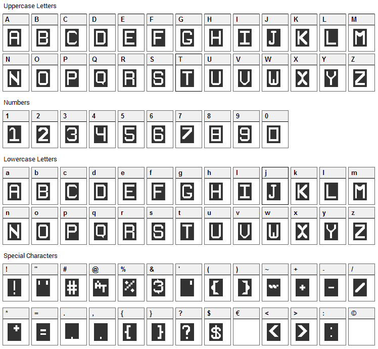 Stencilie Font Character Map