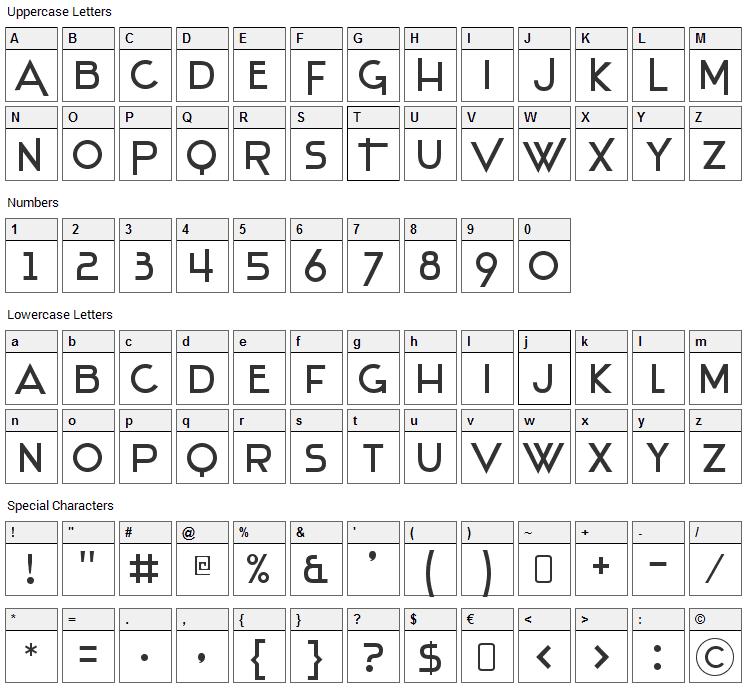 Stentiga Font Character Map